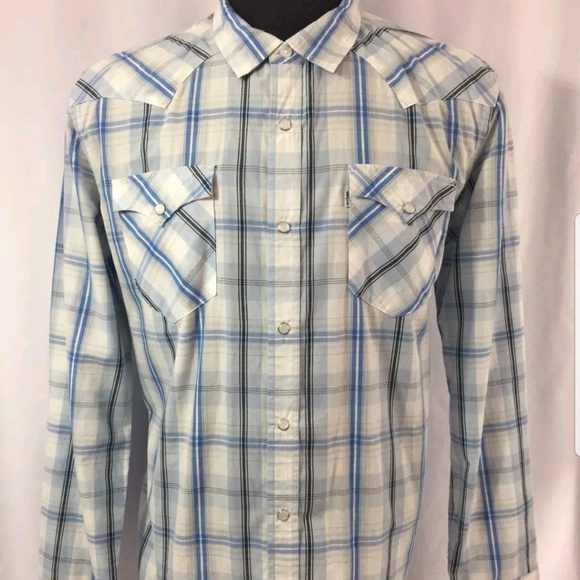 Levi s Other - NEW Mens Pearl Snap LEVIS Cowboy Shirt Large Plaid 8e94b7095